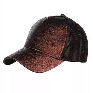 Bronze brown glitter messy bun cap hat high pony